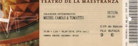 Entrada del concierto de Michel Camilo y Tomatito